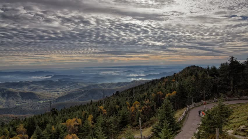 Mount Mitchell Blue Ridge Parkway amazing light clouds panning time-lapse in early fall