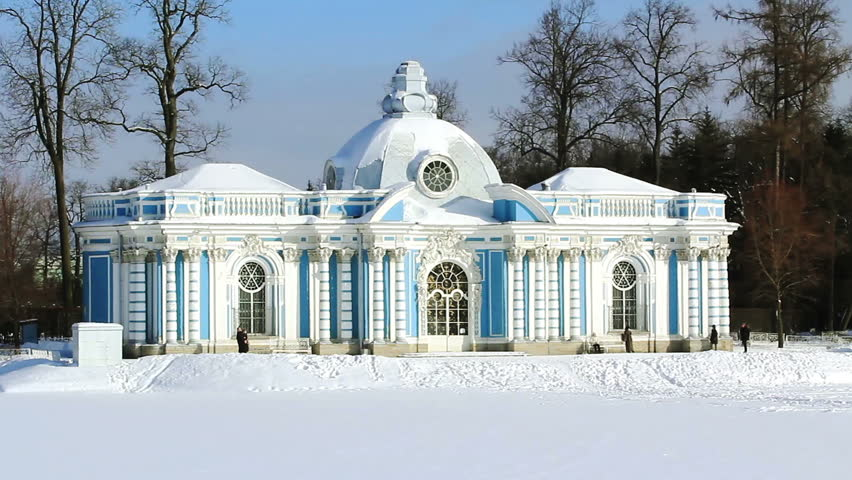 Grotto Pavilion and tourists, taking pictures and visiting it in winter, in Pushkin (Tsarskoye selo), the environ of St. Petersburg, Russia