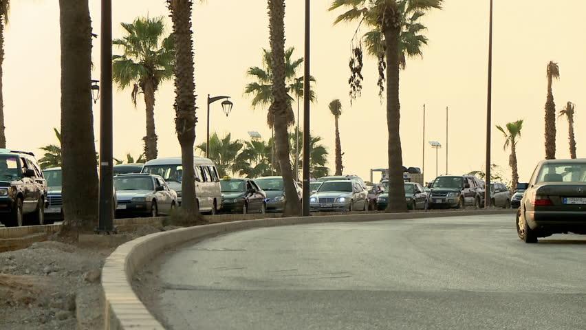 AL RAOUCHE, BEIRUT - CIRCA 2012: cars in traffic on Corniche in Al-