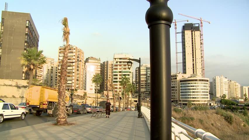 AL RAOUCHE, BEIRUT - CIRCA 2012: Traffic on Corniche and peope walking - HD