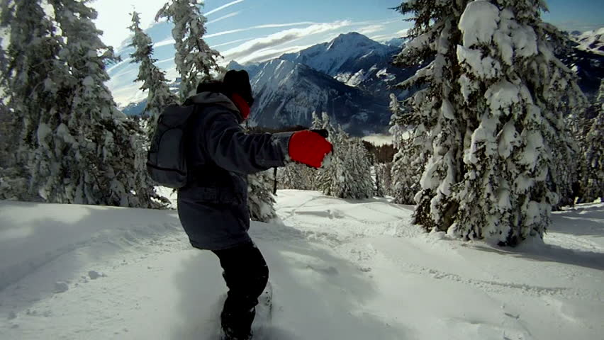 Snowboarding on fresh snow