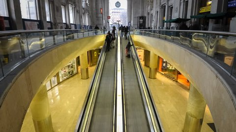 MILAN, ITALY - MARCH 23: Central railway station on March 23, 2013 in Milan, Italy. Every day about 320,000 passengers pass through the station, for an annual total of 120 million passengers.