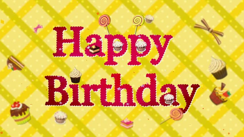 Computer-rendered animation of birthday celebration cakes