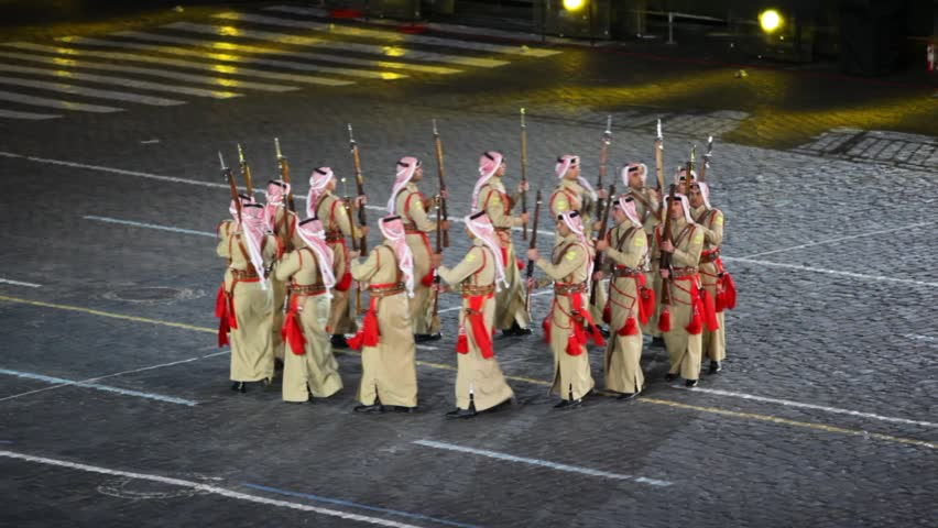 MOSCOW - SEP 4: Jordan soldiers marching in circle at Military Musical Festival Spasskaya Tower, on Sep 4, 2011 in Moscow, Russia.