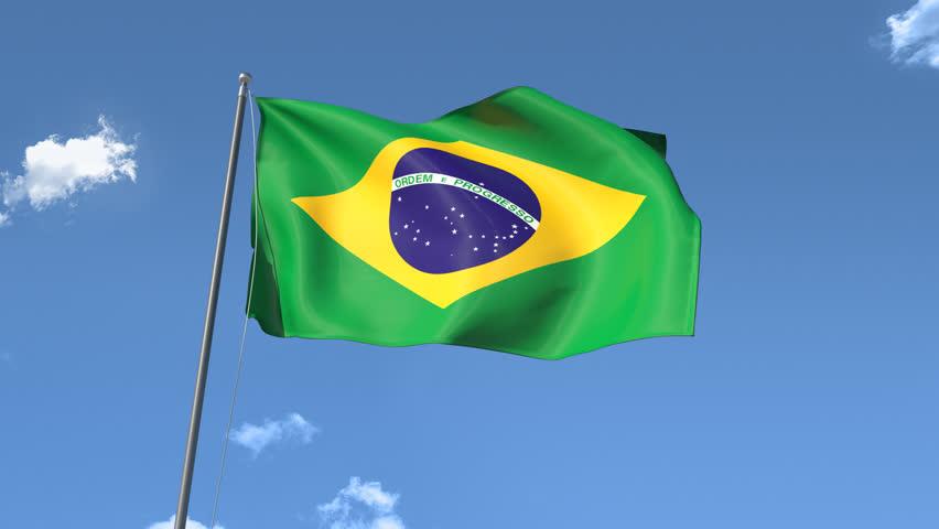 Flag of Brazil Waving. Front Sunlight, Seamless Loop, HIgh Definition