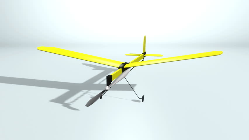 Ideal For Editing Led Backdrops Or Broadcasting Featuring The Construction Of A Yellow Model Plane That Flies Around On Light Grey White Background