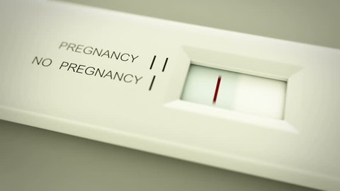 Pregnancy test in action. Two lines mean pregnant. CG animation