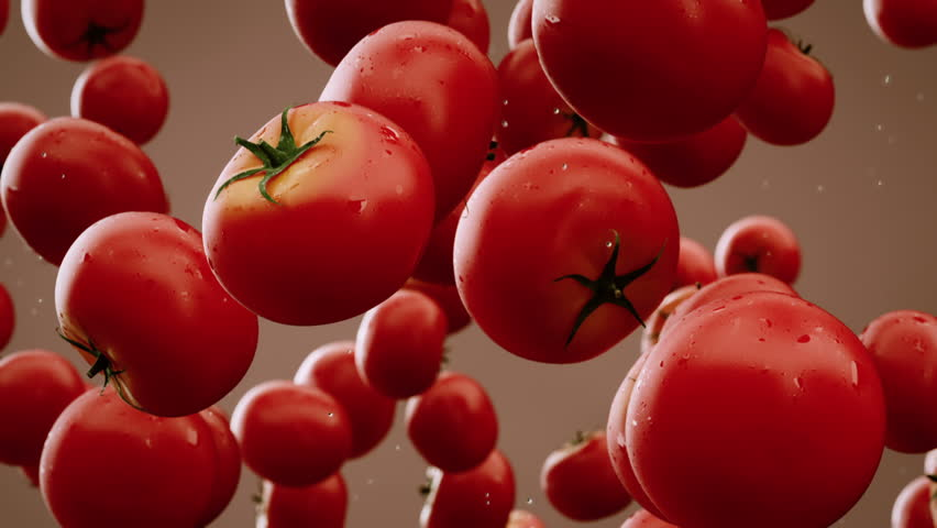 Tomatoes with water droplets falling down in front of blurry background. Slow motion CG animation.