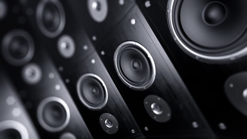 Rotating wall of speakers. Loopable animation.