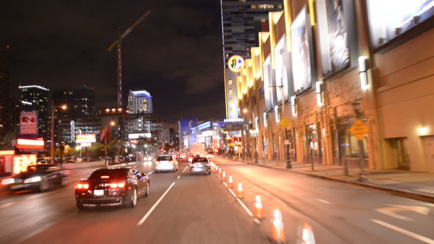 POV Time Lapse Driving of Downtown Los Angeles at Night Circa March 2013