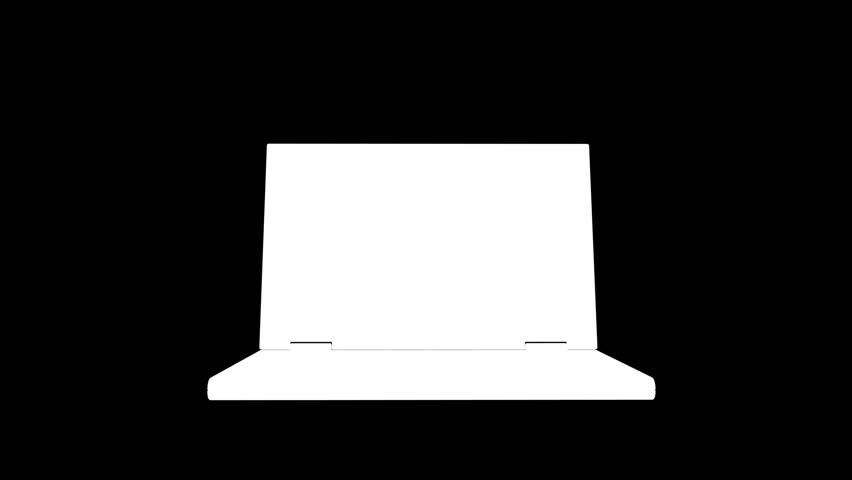 Laptop opening and rotating with matrix data flowing on the display