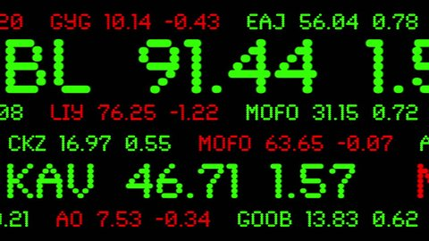 Custom made stock ticker symbols and prices animated across the screen. Symbols are original, not actual companies.