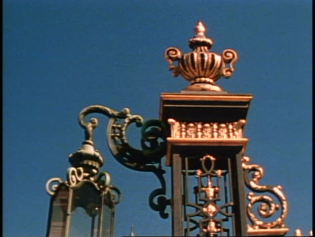 San Francisco, 1970's, City Hall, detail of lamp, tilt down to reveal dome of City Hall, no people
