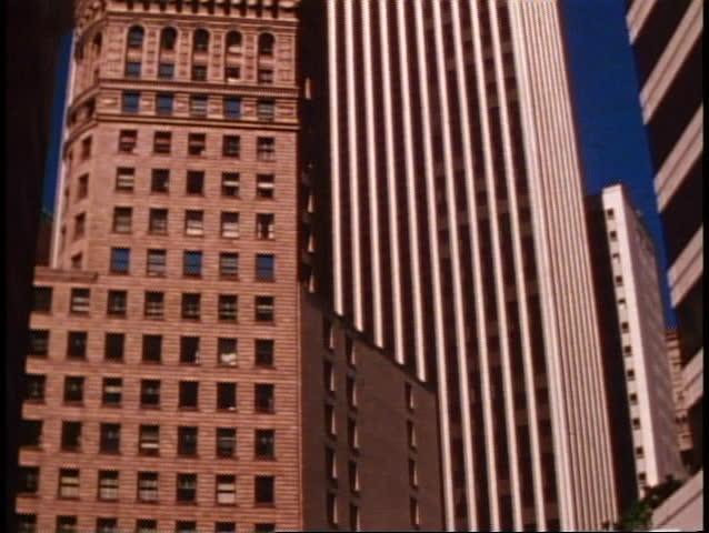 San Francisco, 1970's, modern skyscraper, no people, tilt up