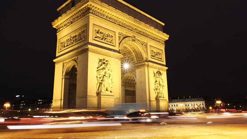 Triumph Arch, Paris. Time lapse video in Paris Charles De Gaulle square. | Shutterstock HD Video #3699902