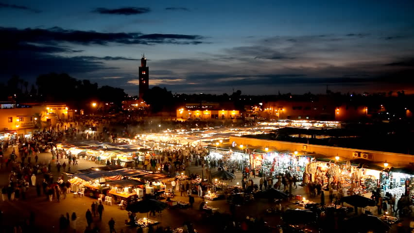 Jemaa el-Fnaa square at night. Marrakesh, Morocco