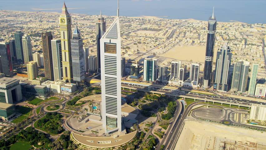 DUBAI, UNITED ARAB EMIRATES - November 18, 2012: Aerial view Emirates Towers downtown