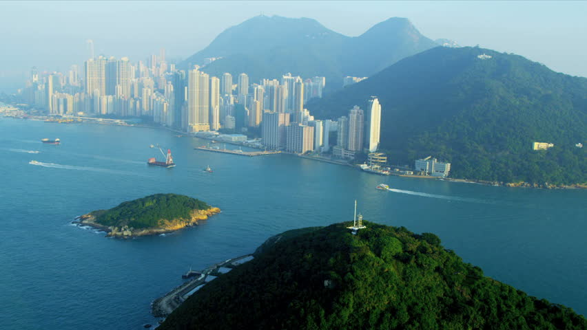 Aerial view of lower Hong Kong Island Kennedy Town, Green Island, South China Sea, China, Asia, RED EPIC   Shutterstock HD Video #3741122