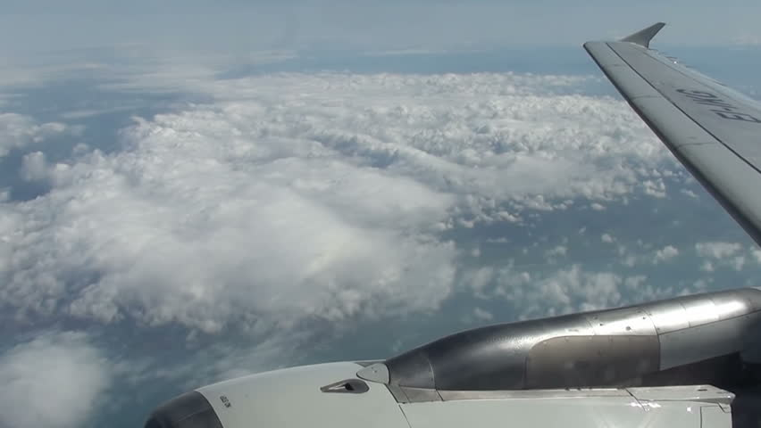 View out of airplane Airplane wing in flight #3743942