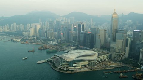 Aerial view Hong Kong Convention and Exhibition Centre Hong Kong, Asia, RED EPIC