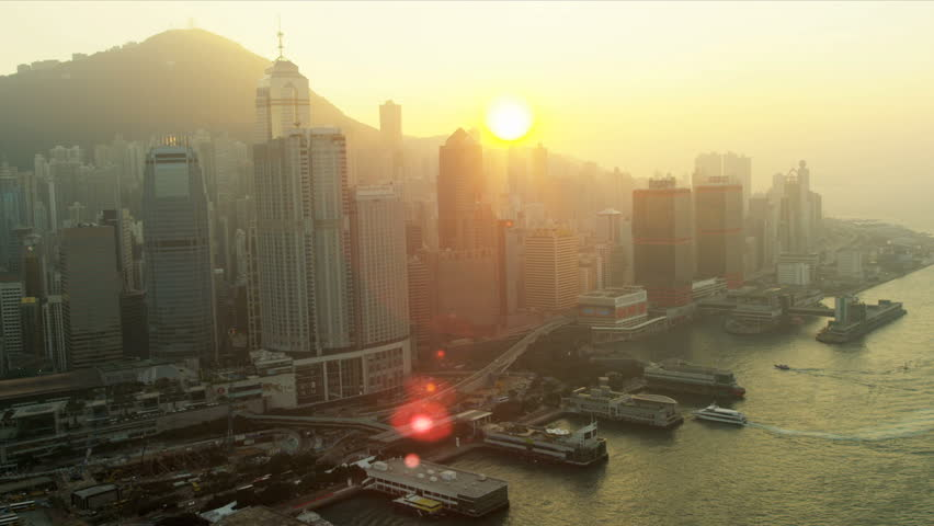 Aerial view Star Ferry Terminals, 2 IFC, Victoria Harbour, Hong Kong, China, Asia, RED EPIC | Shutterstock HD Video #3744755