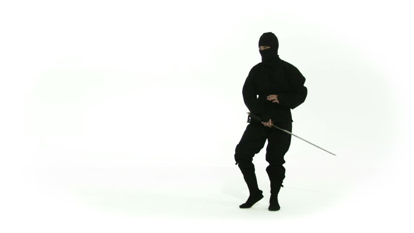 Ninja assassing posing with a sword on a white background. Recorded in slow motion at 60fps.