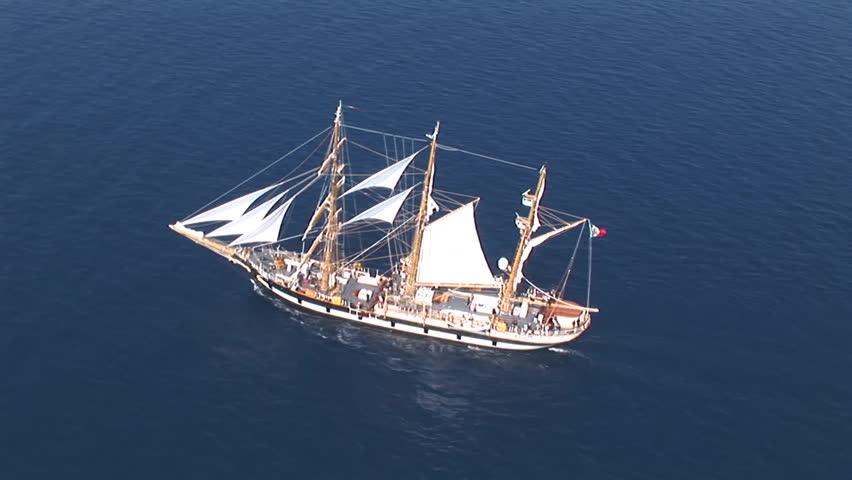 Aerial View Of The Palinuro Sailing Ship At Sea
