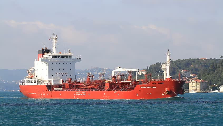 ISTANBUL - JUL 25: Oil chemical tanker SICHEM NEW YORK (IMO: 9337834, Singapore) sailing along Bosporus Sea on July 25, 2012 in Istanbul. A 127 mt long, 20 mt width vessel has a 12,945 DWT