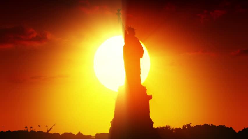 Statue of liberty at sunrise    Shutterstock HD Video #3778514