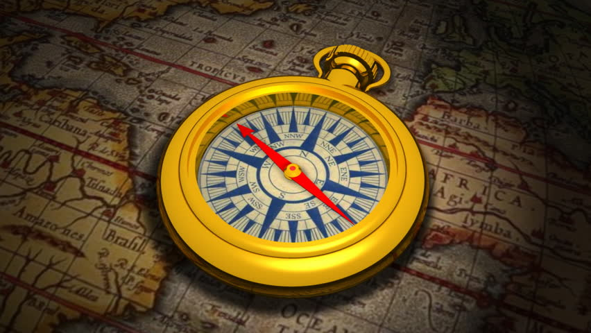 Computer-generated 3D animation depicting a compass and an antique map (concept: exploration, discovery)