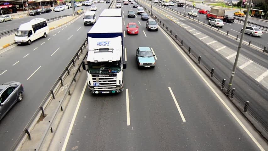 ISTANBUL - MAR 20: E5 Motorway at Bakirkoy region on March 20, 2013 in Istanbul,