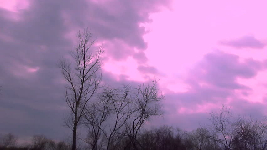 Red cloudy sky.    Time lapse