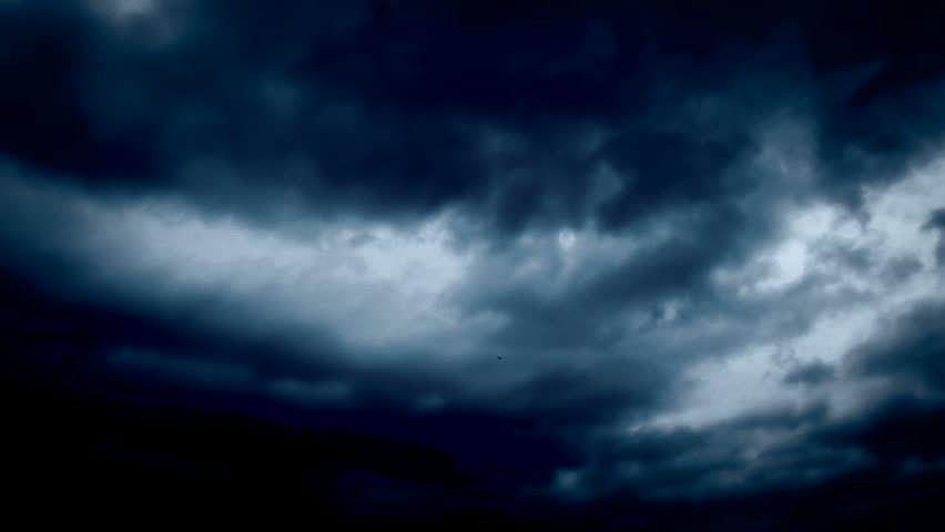 Dark Blue Sky Background: Dark Stormy Clouds Disappear Into The White And Blue Sky