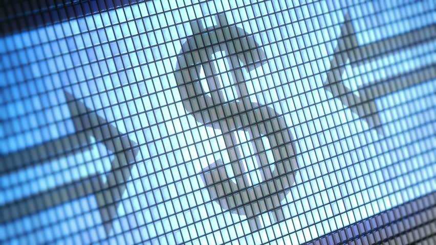 Dollar sign on screen. Looping. | Shutterstock HD Video #3821348