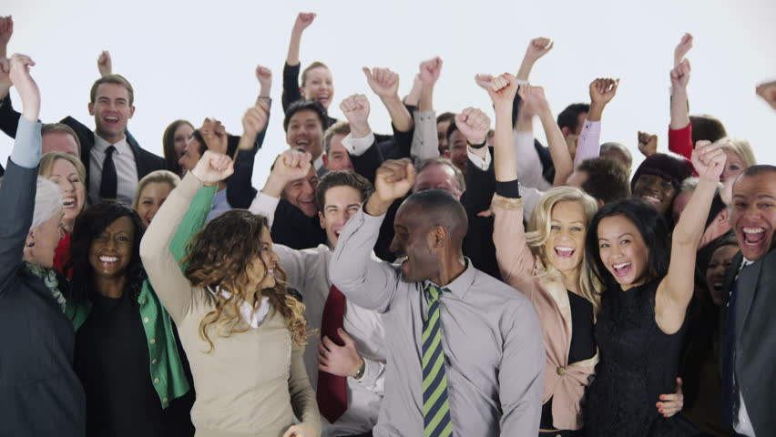 Portrait of a large group of happy and diverse business people who are standing together, isolated on white. They jump in the air and cheer to celebrate their business success. In slow motion.