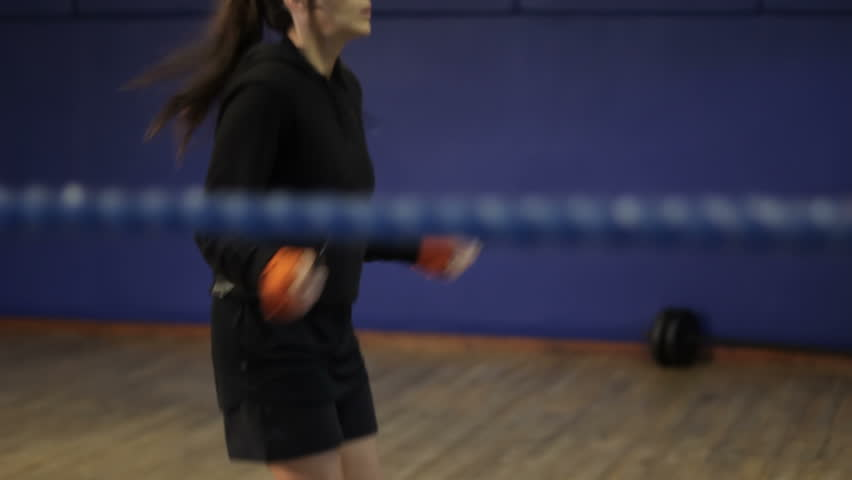 Skipping - female boxer training with a skipping rope