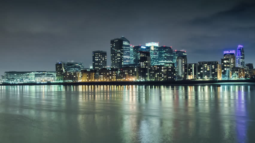 Canary Wharf, view from canada water, time lapse 1080p, 1920x1080, timelapse | Shutterstock HD Video #3845339