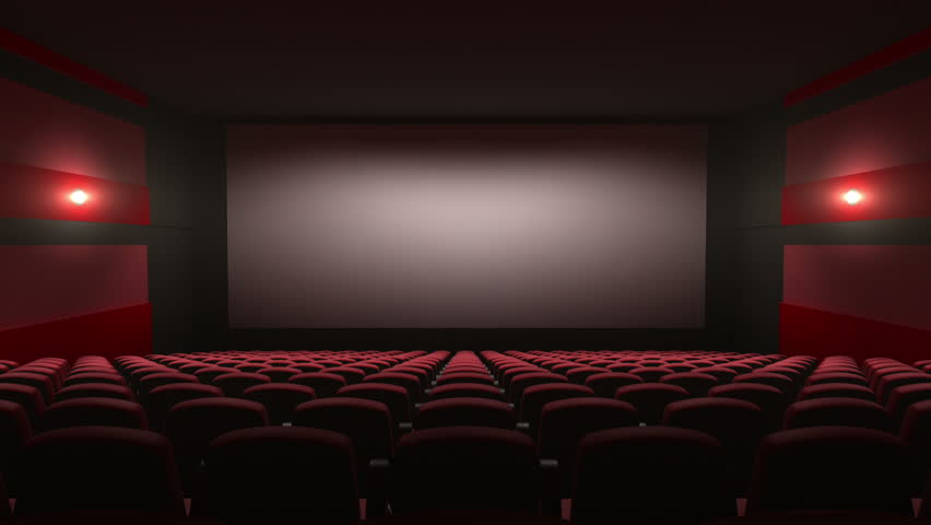 movie theatre with a green screen, 3d animation