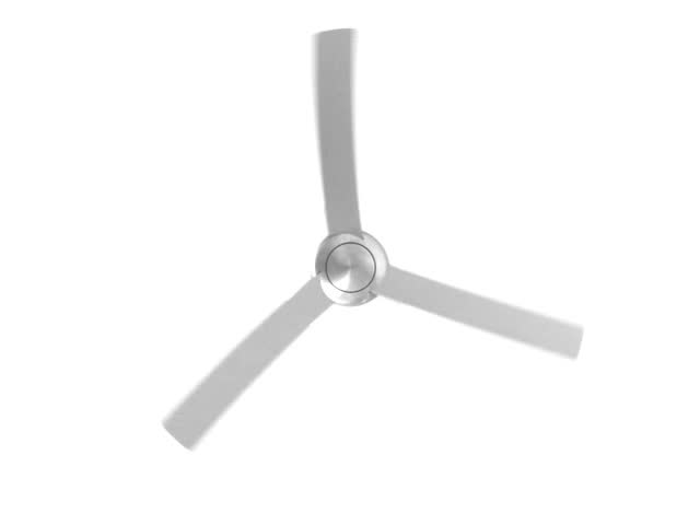 isolated silver ceiling fan rotating loop stock footage video