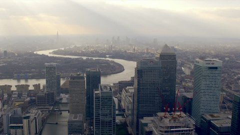 LONDON - MARCH 28: Panoramic aerial shot of the Canary Wharf financial district March 28, 2013 in London, England.