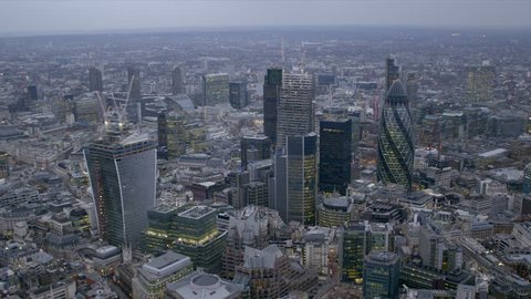 Panoramic aerial view of the City of London financial district at dusk
