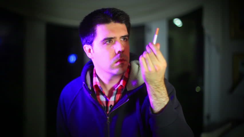 looking at a cigarette
