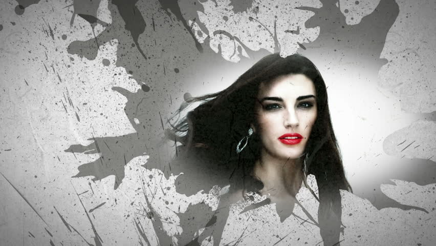 Montage showing women and make up on white background with grey paint splashes