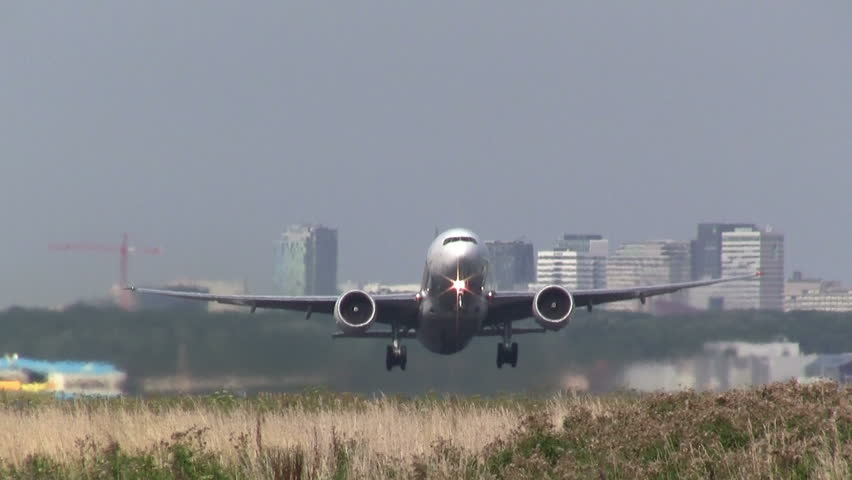 Huge airliner taking off