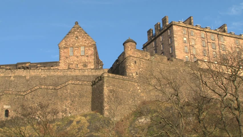 Edinburgh Castle and its walls seen from below.
