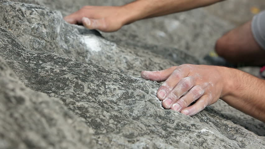 Close up of hands of a man rock climbing in nature #3903992