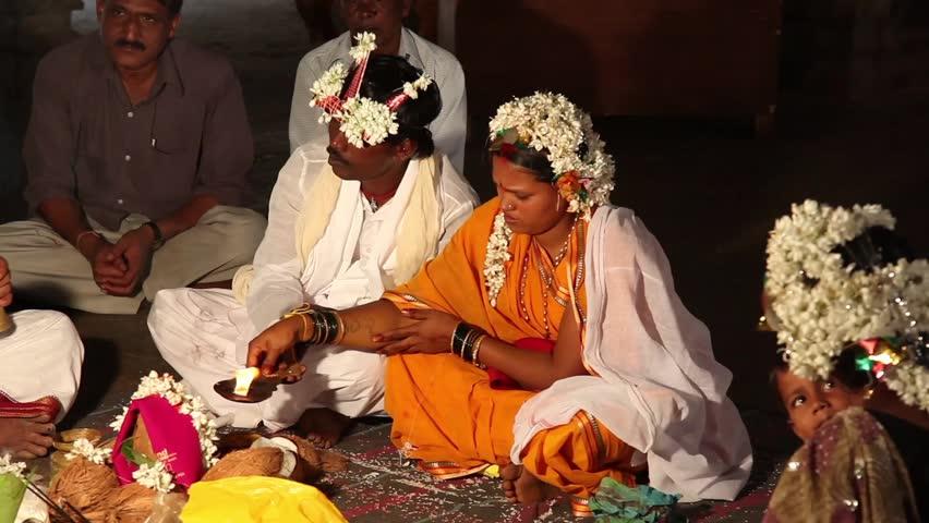 Hampi, India - 31 December 2012: Traditional Indian wedding in Hampi, India, Dec 31 2012.