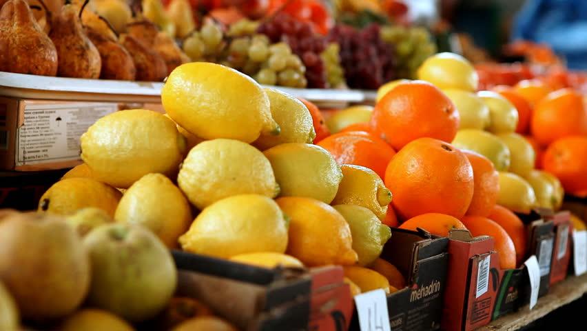 Beautiful dynamic view of healthy fruits in market rack focus   Shutterstock HD Video #3912812
