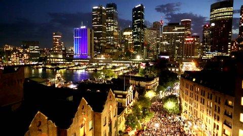 Time lapse of Sydney night shot of CBD and street vibe, Australia