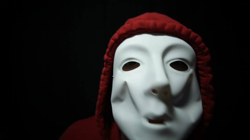 Mad horror masked man in darkness | Shutterstock HD Video #3923972